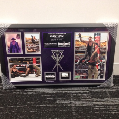 Photo of Undertaker SIGNED WrestleMania 31 Framed Ring Rope Framed Collage (Limited Quantity of 31)