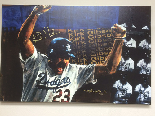 Photo of Autographed Kirk Gibson Canvas by Stephen Holland