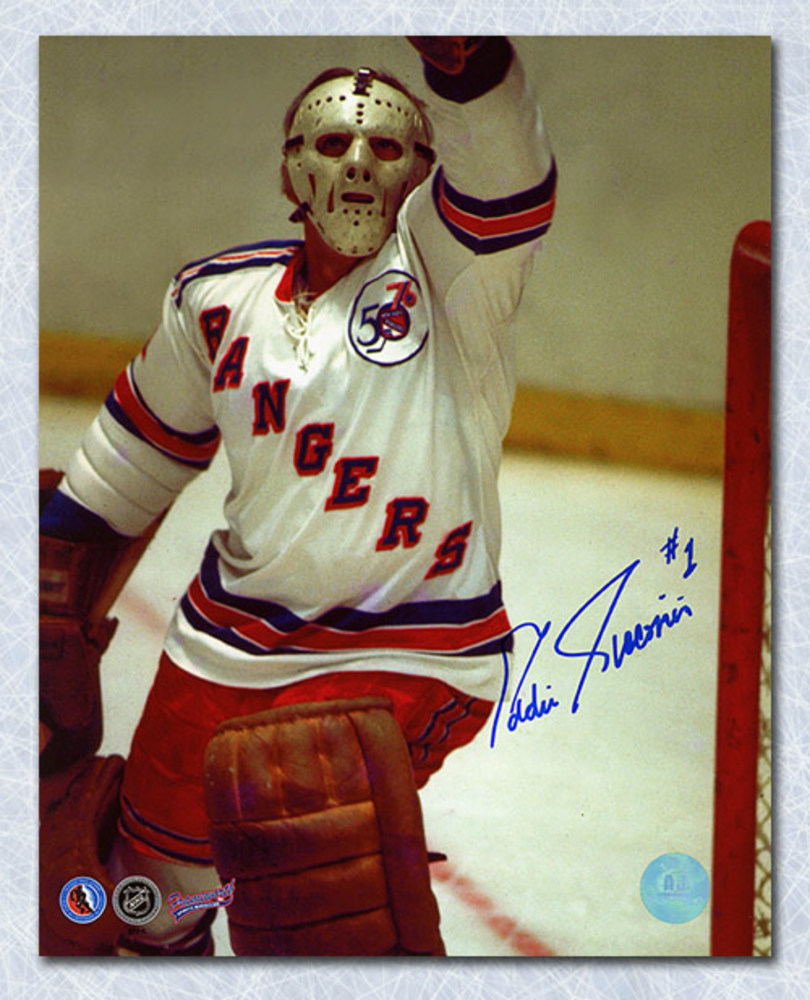 Ed Giacomin New York Rangers Autographed Close-Up Action 8x10 Photo