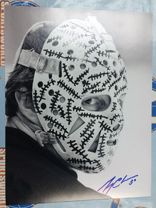 Gerry Cheevers Boston Bruins Autographed Black & White Mask Close Up 11x14 Photo *Autograph Slightly Streaky*