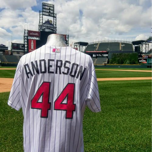 Photo of Colorado Rockies Tyler Anderson 2017 Mother's Day Jersey.  8 Ks.