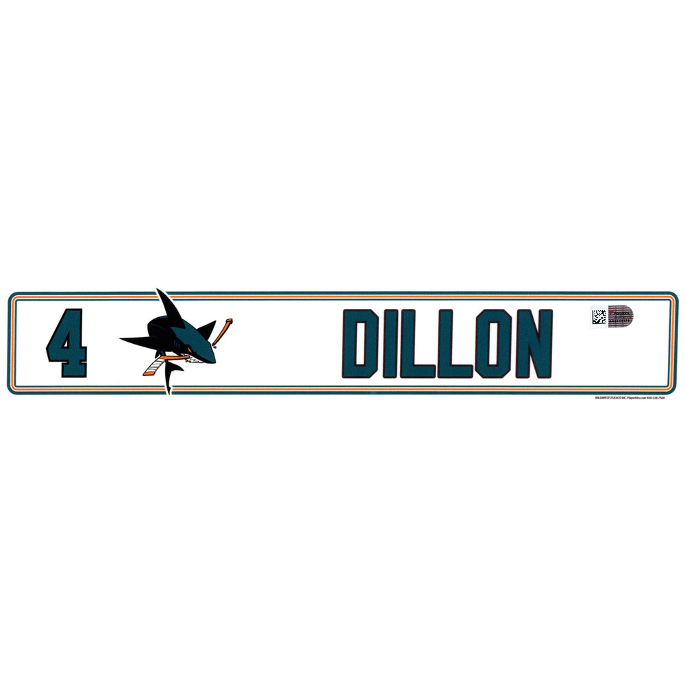 Brenden Dillon San Jose Sharks Player-Issued #4 Locker Room Nameplate from the 2016-17 NHL Season