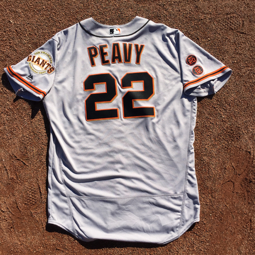Photo of San Francisco Giants - 2016 Game-Used Road Jersey - Opening Day - Worn by #22 Jake Peavy on 4/4 (Size: 48)