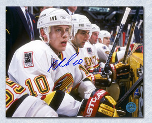 Pavel Bure Vancouver Canucks Autographed On The Bench 8x10 Photo