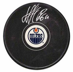 Nail Yakupov - Signed Edmonton Oilers Logo Puck