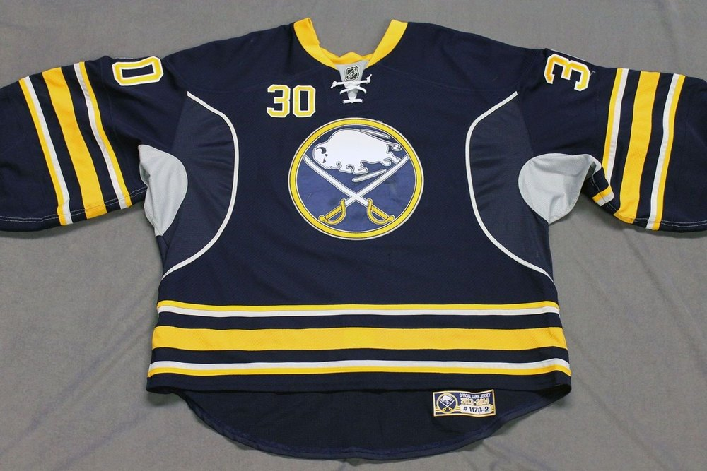 Ryan Miller Game Worn Buffalo Sabres Home Jersey.  Serial: 1173-2. Set 2 - Size 58GC.  2013-14 season.
