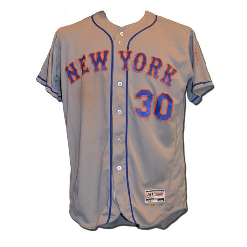 Photo of Michael Conforto #30 - Game Used Road Grey Jersey - Conforto Hits 2 Run HR; 3 RBI - Mets vs. Pirates - 6/8/16