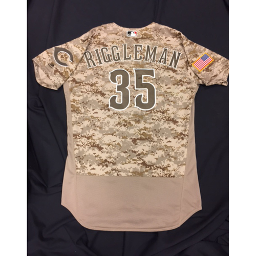 Photo of Game-Used Jersey - Jim Riggleman - Camo Jersey - 5/21/16, 6/12/16, 8/19/16, 9/2/16