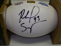 PATRIOTS - RICHARD SEYMOUR SIGNED PANEL BALL W/ 3 TIME SUPER BOWL CHAMPIONS LOGO