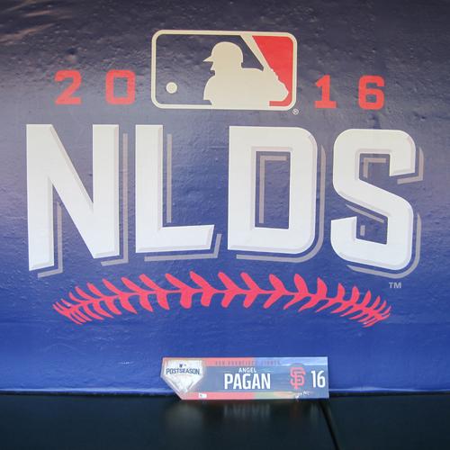 Photo of San Francisco Giants - Game-Used Locker Tag - WC & NLDS - Angel Pagan