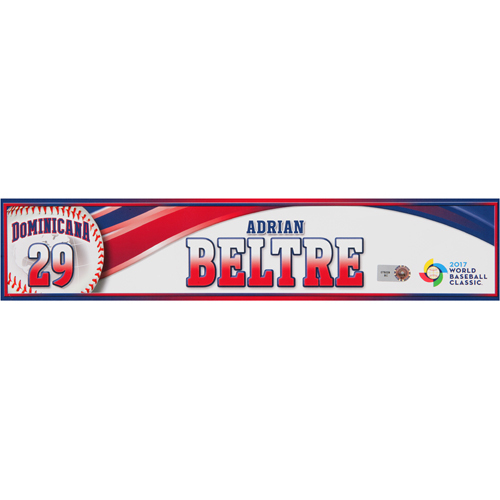 Photo of 2017 WBC Dominican Republic Game-Used Locker Tag: Adrian Beltre #29