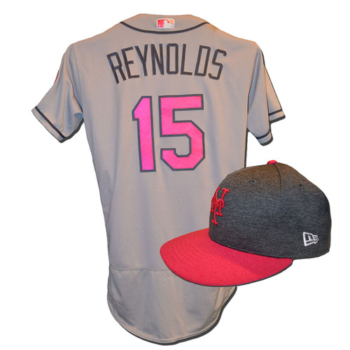 Photo of Matt Reynolds #15 - Game Used Mother's Day Jersey and Hat - Mets vs. Brewers - 5/14/17