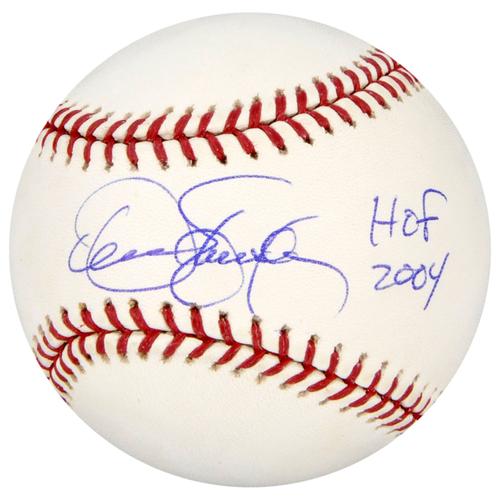 Photo of Dennis Eckersley Oakland Athletics Autographed Baseball with HOF 04 Inscription