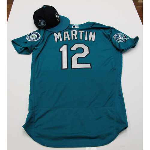 Photo of Leonys Martin Green Game-Used Jersey & Cap With Edgar Martinez Patch 8-11-2017 - Sizes: Jersey - 44, Cap 7 1/4