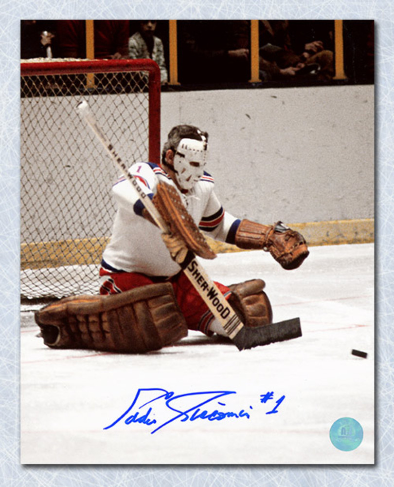 Ed Giacomin New York Rangers Autographed Butterfly Save 8x10 Photo