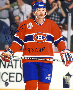Rob Ramage Montreal Canadiens Autographed 8x10 Photo w/ 93 Cup Inscription