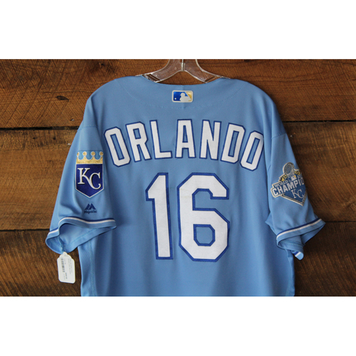Photo of Paulo Orlando Game-Used Jersey: CWS at KC - Sep 19, 2016 (HR Bot of 2nd)