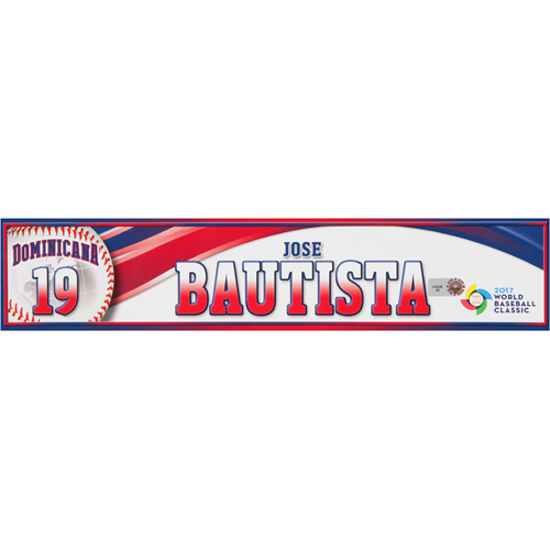 Photo of 2017 WBC Dominican Republic Game-Used Locker Tag: Jose Bautista #19