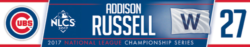 Photo of Addison Russell Game-Used Locker Nameplate -- NLCS Game 4 -- Dodgers vs. Cubs -- 10/18/17