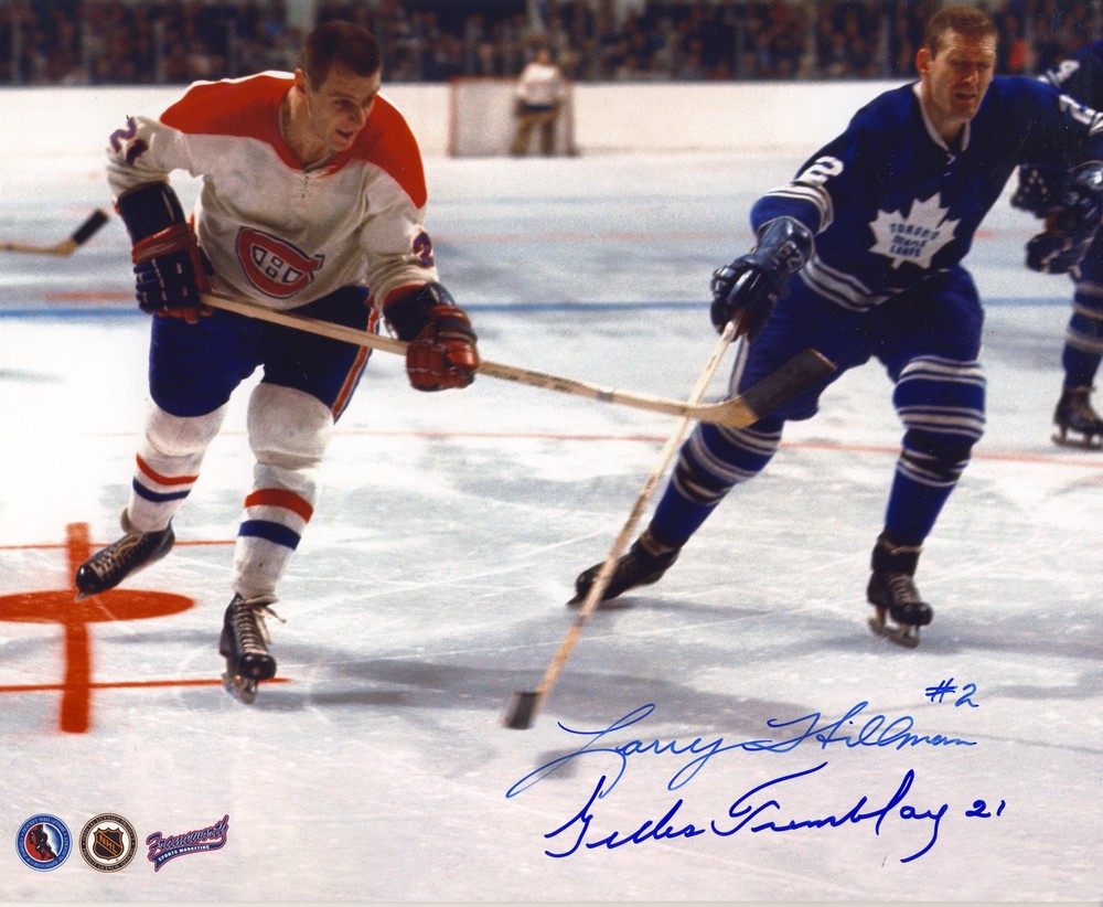LARRY HILLMAN Toronto Maple Leafs & GILLES TREMBLAY Montreal Canaddiens DUAL-SIGNED 8x10 Photo