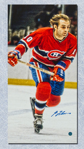 Guy LaFleur Montreal Canadiens Autographed 14x28 Art Canvas