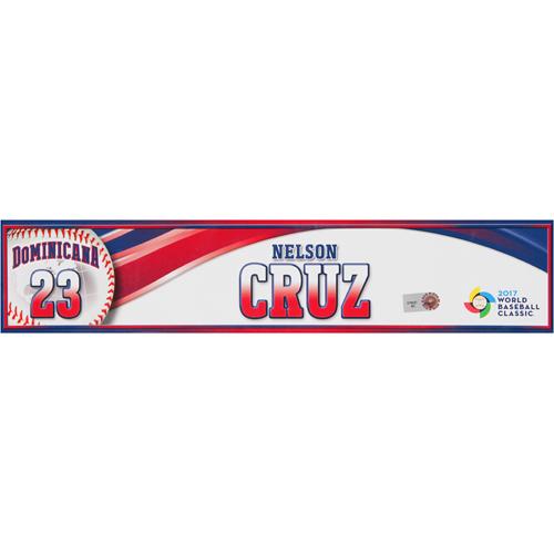 Photo of 2017 WBC Dominican Republic Game-Used Locker Tag: Nelson Cruz #23