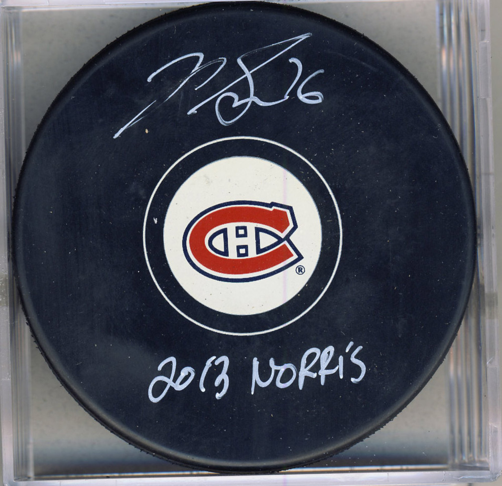 P.K. SUBBAN Montreal Canadiens AUTOGRAPHED Hockey Puck w/ 2013 Norris Inscription *Autograph Slightly Damaged*