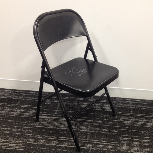 Rollins Chair: Seth Rollins USED & SIGNED Steel Chair (Hell In A Cell