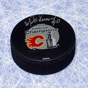 Mike Vernon Calgary Flames Autographed 1989 Stanley Cup Puck