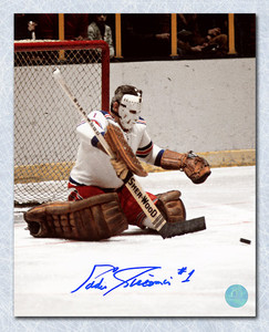 Ed Giacomin New York Rangers Autographed Butterfly Save 16x20 Photo