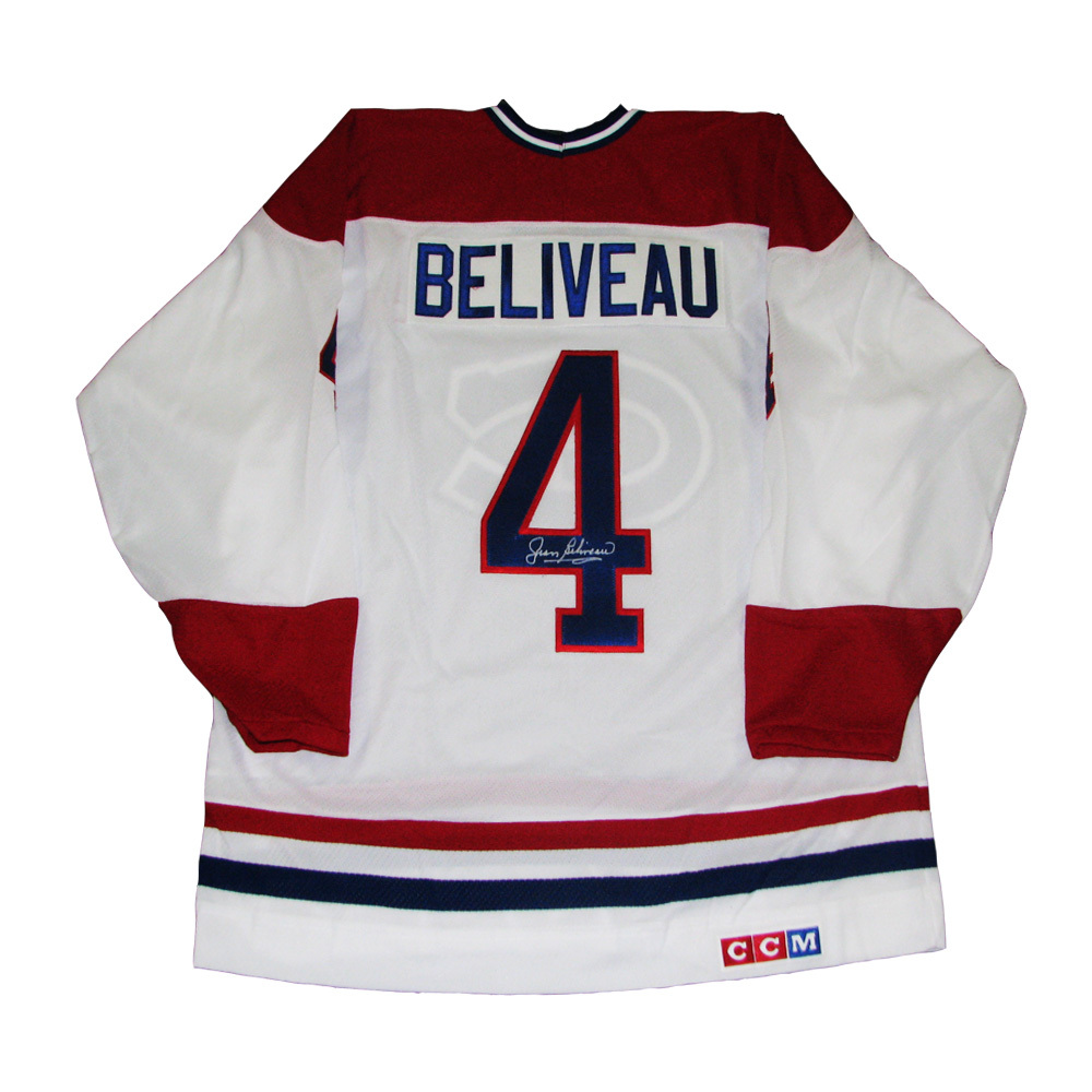 JEAN BELIVEAU Signed Montreal Canadiens White CCM Jersey
