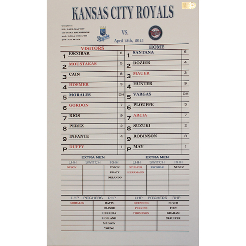 Photo of Game-Used Coach's Line Up Card: KC at MIN - April 13, 2015 (WIN 12-3) (Morales HR)