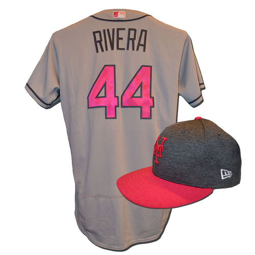 Photo of Rene Rivera #44 - Game Used Mother's Day Jersey and Hat - Rivera Goes 1-4, 2 RBI - Mets vs. Brewers - 5/14/17
