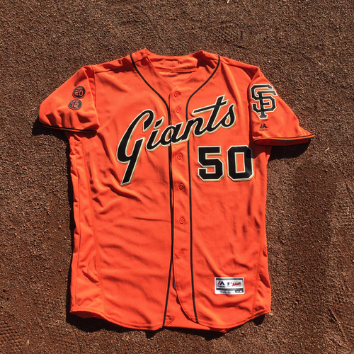 Photo of San Francisco Giants - 2016 Game-Used Home Alt Org Jersey - Worn by #50 Ty Blach on 9/30 (Size 46)