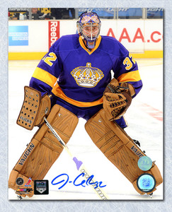 Jonathan Quick Los Angeles Kings Autographed Retro Purple Jersey 8x10 Photo