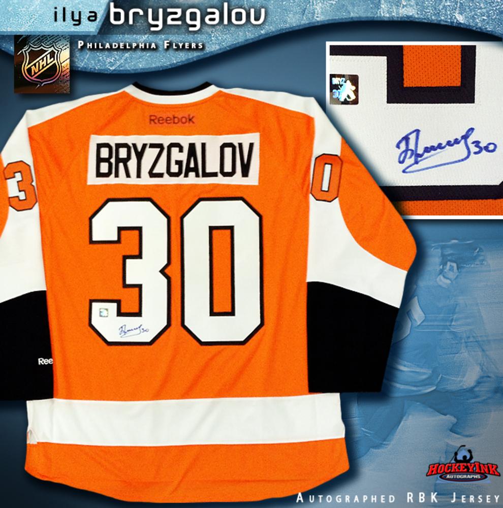 ILYA BRYZGALOV Signed Reebok Premier Orange Philadelphia Flyers Jersey