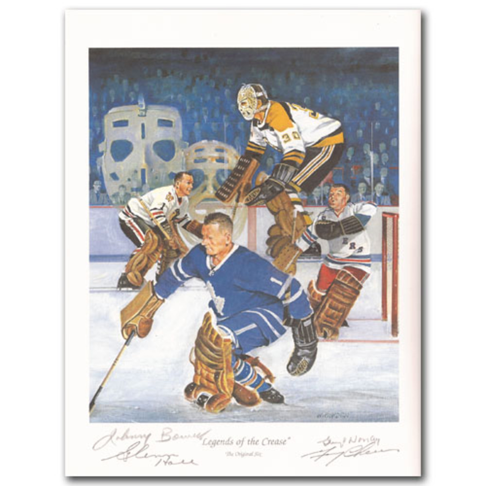 Johnny Bower, Glenn Hall, Gump Worsley (deceased) & Gerry Cheevers Autographed Art Print -