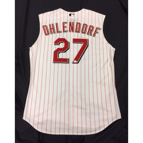 Photo of Game-Used Jersey - Ross Ohlendorf - Griffey-Era Throwback Jersey - 7/20/16 ATL vs. CIN - 1.0 IP, 2 K