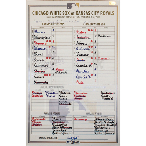 Photo of Game-Used Line Up Card: CWS at KC - September 16, 2016
