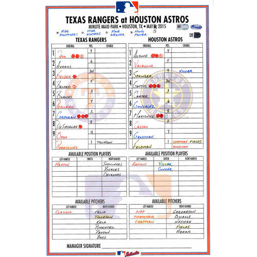 Photo of Texas Rangers Game-Used Lineup Card vs. Houston Astros on May 5, 2015. Rodriquez Retires Final 19 Batters