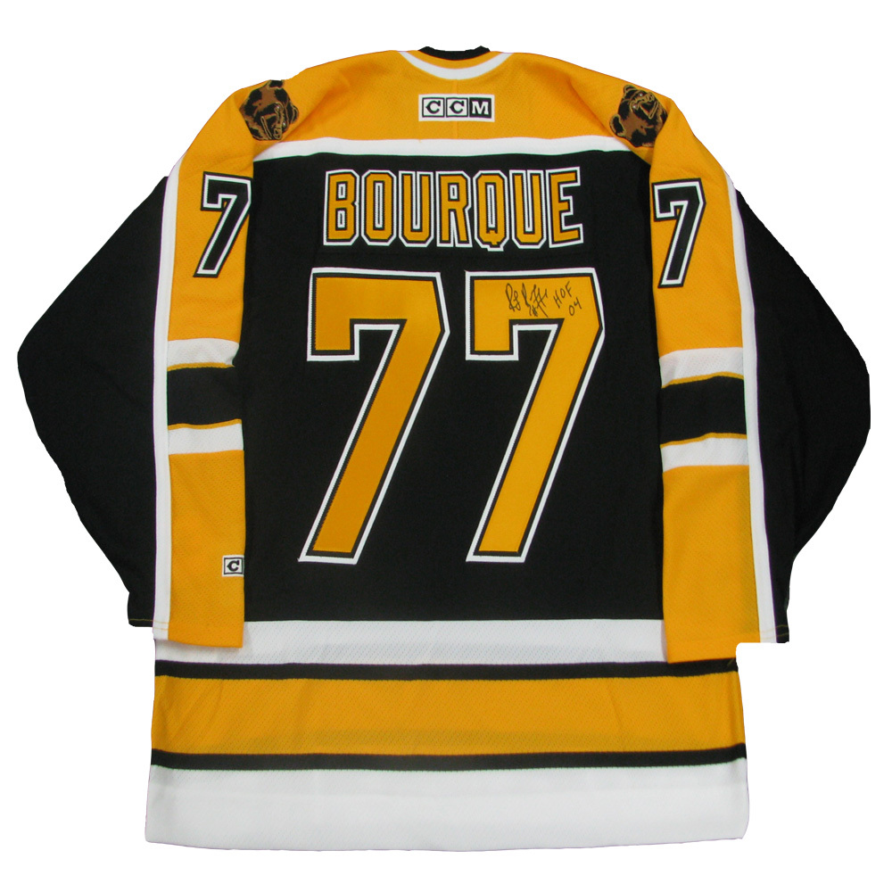 RAY BOURQUE Signed Boston Bruins Black CCM Jersey with HOF Inscription