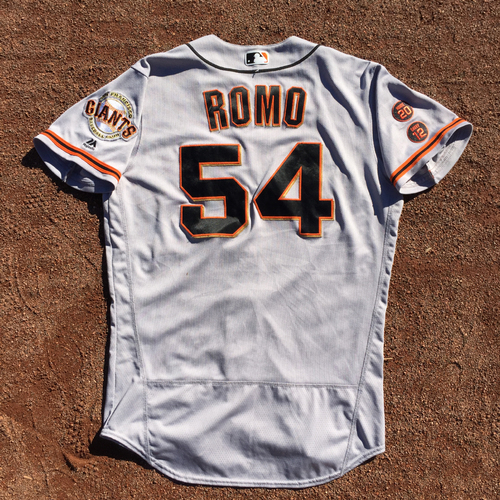 Photo of San Francisco Giants - 2016 Game-Used Road Jersey - Worn by #54 Sergio Romo on 9/24 - 1.0 IP, 1 K, SAVE  (Size: 44)