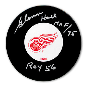 Glenn Hall Detroit Red Wings 1956 ROY Autographed Puck