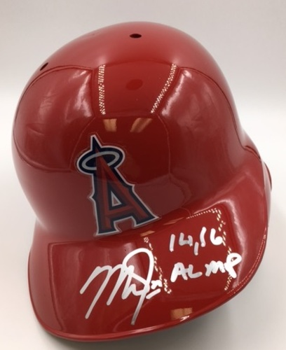 "Photo of Mike Trout ""14, 16 AL MVP"" Autographed Angels Batting Helmet"