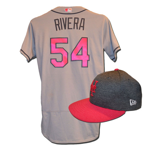 Photo of T.J. Rivera #54 - Game Used Mother's Day Jersey and Hat - Rivera Goes 2-5, RBI, Run Scored - Mets vs. Brewers - 5/14/17