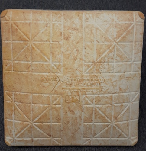 Photo of Authenticated Game Used Base - Jose Bautista's 300th HR Game (August 2, 2016). 1st Base for Entire Game