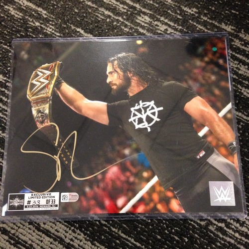 Photo of Seth Rollins SIGNED 8 x 10 Limited Edition WrestleMania 33 Photo (#33 of 33) (w/ Title)