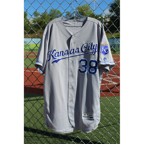 Photo of Game-Used Jersey: Jorge Bonifacio 14th Career Home Run, 69th Career Hit, 70th Career Hit, 71st Career Hit, and 31st Career RBI (Size 50 - KC at DET - 7/24/17)