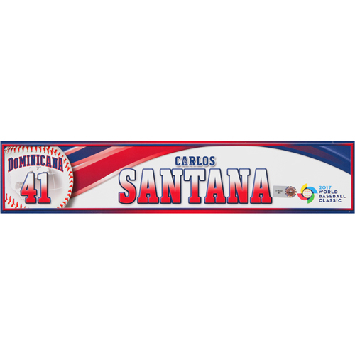 Photo of 2017 WBC Dominican Republic Game-Used Locker Tag: Carlos Santana #41