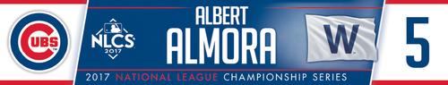 Photo of Albert Almora Game-Used Locker Nameplate -- NLCS Game 4 -- Dodgers vs. Cubs -- 10/18/17